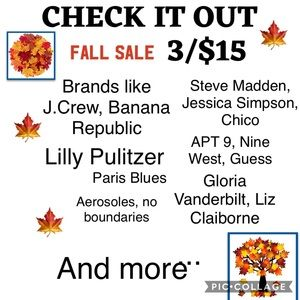 FALL SALE GOING ON NOW! Clearance of closet!